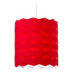 1 Light Cross Hatch Pendant With Red Shade