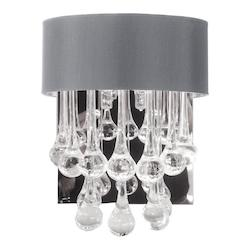2 Light Wall Sconce With Glass Droplets With Shade
