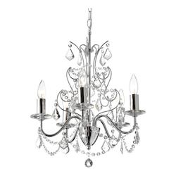 5 Light Crystal Chandelier With Chrome Finish