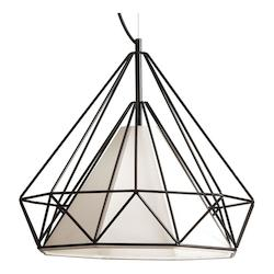 1 Light Metal Framed Pendant With Ivory Shade