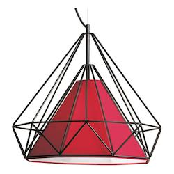 1 Light Metal Framed Pendant With Red Finish