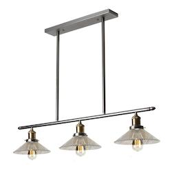 3 Light Horizontal Pendant Wit Vintage Steel Finish
