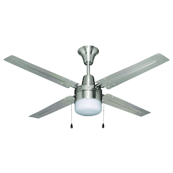 Brushed Chrome Finish Ceiling Fan with Light kit - 371818