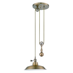 1 Light Pulley Pendant with Metal Shade - 371962