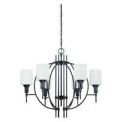 6 Light Chandelier in Espresso Finish and White Glass - 371967