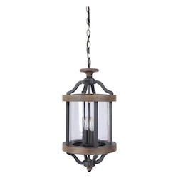 2 Light Pendant with Textured Black Finish - 371980