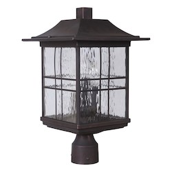 3 Light Outdoor Post Lantern with Aged Bronze Finish - 371986