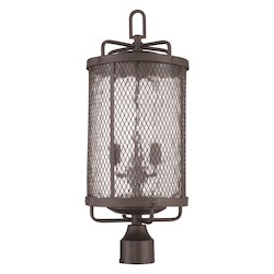 Three Light Outdoor Post Lantern with Black Finish - 371998