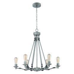 6 Light Chandelier in Aged Galvantized Finish - 372000