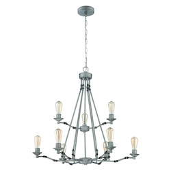 9 Light Chandelier in Aged Galvantized Finish - 372001