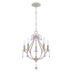 5 Light Mini Chandelier in Antique Linen Finish and Pink Crystal - 372005