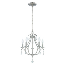 5 Light Mini Chandelier in Brushed Polished Nickel Finish - 372007