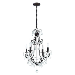 4 Light Mini Chandelier in Aged Bronze Finish - 372011
