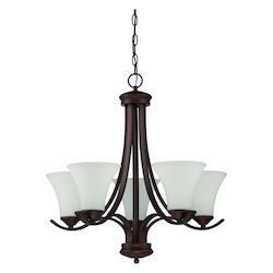 5 Light Chandelier in Oiled Bronze Finish and Frosted Glass - 372014