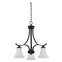 3 Light Down Chandelier in Oiled Bronze Finish - 372015