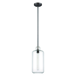 1 Light Mini Pendant with Clear Glass and Espresso Finish - 372047