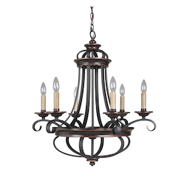 6 Light Chandelier in Aged Bronze Finish - 372067