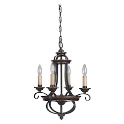 4 Light Chandelier in Aged Bronze Finish - 372068