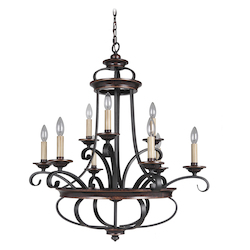 9 Light Chandelier in Aged Bronze Finish - 372069