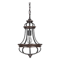 1 Light Mini Pendant in Aged Bronze Finish - 372071