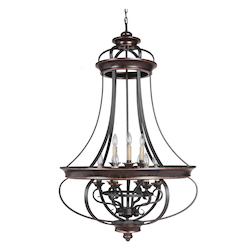 9 Light Pendant in Aged Bronze Finish - 372074