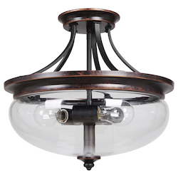 3 Light Semi Flush in Aged Bronze Finish - 372075