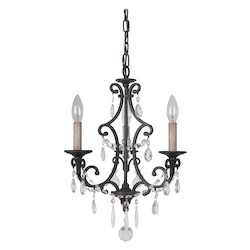 3 Light Chandelier in Matte Black Finish - 372082