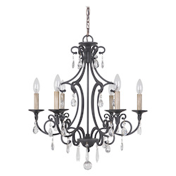 6 Light Chandelier in Matte Black Finish - 372083