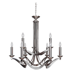 9 Light Chandelier in Satin Nickel Finish - 372094