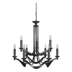 9 Light Chandelier in Espresso Finish - 372099
