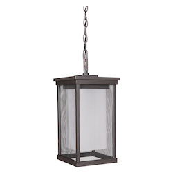 1 Light Outdoor Pendant with Oiled Bronze Finish - 372116
