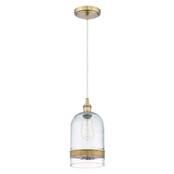 1 Light Mini Pendant with Clear Glass and Antique Copper Finish - 372125