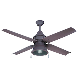 Rustic Iron Ceiling Fan with Blades and Light Kit - 372235
