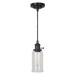 1 Light Aged Bronze Mini Pendant with Clear Glass - 372264