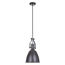 1 Light Mini Pendant in Oiled Bronze Finish and Metal Shade - 372279