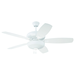White Ceiling Fan with Blades and Light Kit - 372294