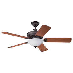 Aged Bronze Finish Ceiling Fan with Blades and Light Kit - 372295
