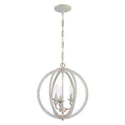 3 Light Mini Chandelier in Antique Linen with Clear Crystal - 372299