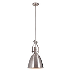 1 Light Pendant in Tarnished Silver with Metal Shade - 372302