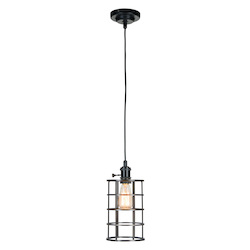 1 Light Mini Pendant with Aged Bronzed Cage - 372329