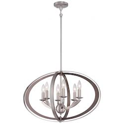 Six Light Chandelier with Brushed Nickel Finish