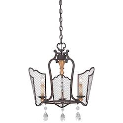 Three Light Mini Chandelier with French Bronze Finish