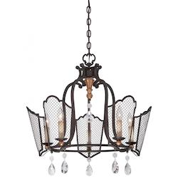 Five Light Chandelier With French Bronze Finish