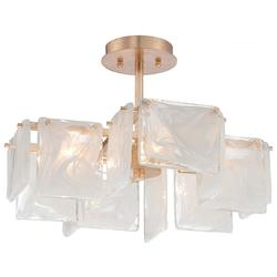 Four Light Semi Flush Light With French Gold Finish