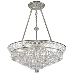 6 Light Crystal Pendant Light in Chrome Finish with Clear Crystals and Insets  - 374434