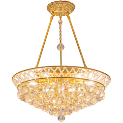 6 Light Crystal Pendant Light in Gold Finish with Clear Crystals and Insets  - 374435