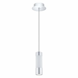 Chrome Fosforo Single Light Color Adjustable LED 5.75in. Wide Pendant with White Synthetic Shade