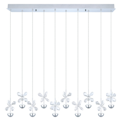 Chrome Pianopoli 10 Light LED 33.625in. Long Pendant