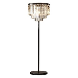 Odeon 8 Light Clear Glass Fringe Floor Lamp Light Fixture in Java Brown Finish - Restoration Revolution 700132-001