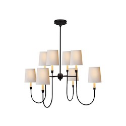 8 Light Shaded Chandelier Light Fixture with Bronze Finish